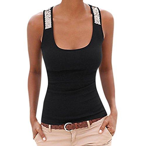 OverDose Damen Sommer Frauen Plus Größe Ärmellose Pailletten Weste Tops  Casual Bluse T-Shirt Freizeit Oberteile Tees Camisole 8760886e79
